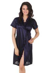 Fasense Exclusive Women Satin Nightwear Sleepwear Short Wrap Gown DP083 E