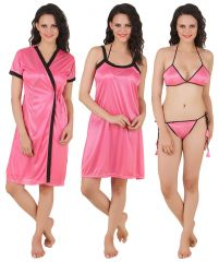 Fasense Exclusive Women Satin Nightwear Sleepwear 4 PCs Set, Nighty,DP100 B
