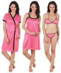 Fasense Exclusive Women Satin Nightwear Sleepwear 4 PCs Set, Nighty,dp100 B