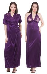 Fasense Women Satin Nightwear Sleepwear 2 Pc Set Nighty & Wrap Gown DP113 E