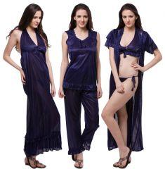 Fasense Exclusive Women Satin Nightwear Sleepwear 6 PCs Set Of Nighty, Wrap DP114 B