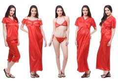 Fasense Exclusive Women Satin Nightwear Sleepwear 6 PCs Set Of Nighty DP115  C f6c7bbcca