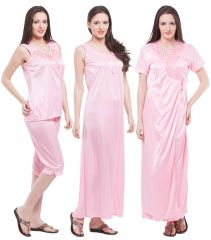 Fasense Exclusive Women Satin Nightwear Sleepwear 4 PCs Set Of Long Nighty DP117 B