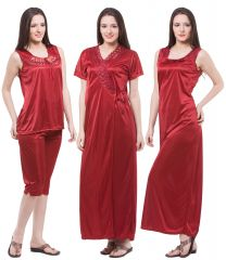 Fasense Exclusive Women Satin Nightwear Sleepwear 4 PCs Set Of Long Nighty DP117 C