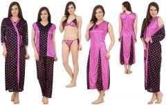 Fasense Women 6 PCs Set Nighty, Wrap Gown, Top, Pajama, Bra&Thong, DP171 A