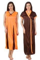 Fasense Women's Clothing - Fasense Women Satin Nightwear 2 PCs Set of Long Nighty & Wrap Gown DP174 A