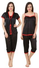 Fasense Women Satin Nightwear 3 Pc Set Short Wrap Gown, Top & Capry DP176 B