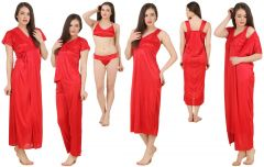 Fasense Women's Satin 6 PCs Nighty, WrapGown,Top,Pyjama,Bra & Thong GT001 E