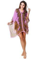 Swim Wear (Women's) - Fasense Printed Purple Beachwear Cover Up MM001 A