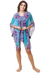 Fasense Floral Printed Turquoise Multi Beachwear Cover Up MM002 C