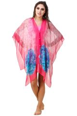 Fasense Floral Printed Coral Red Multi Beachwear Cover Up MM003 A