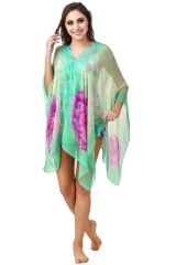 Fasense Floral Printed Green Multi Beachwear Cover Up MM003 B