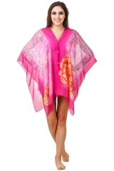 Fasense Floral Printed Wine Multi Beachwear Cover Up MM003 C