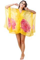 Fasense Women's Clothing - Fasense Floral Printed Yellow Multi  Beachwear Cover Up MM003 D