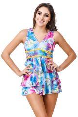 Swim Wear (Women's) - Fasense Blue Multicolor Beachwear Swimming Costume Swim Suit SH007 A
