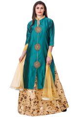 Salwar Suits (Readymade) - Fasense Solid Floral Print Ethnic Wear Top & Skirt Set VG108 C