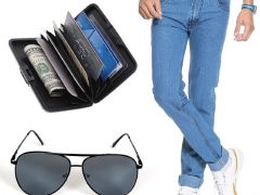 Shop or Gift Stylox Light Blue Denim With Sunglass And Credit Card Holder Online.