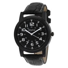 Synthetic strap - Stylox Black Round Dial Stylish Watch (Product Code - WH-STX154)