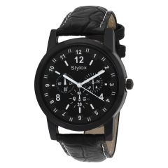 Synthetic strap - Stylox Black Round Dial Stylish Watch (Product Code - WH-STX156)