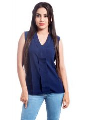 Diagonal's D17- Y Shaped Navy Blue Sleeveless Top Xtra LargeYSHPTPD017NBLXL