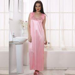 Clovia Long Satin Nighty In Baby Pink   NSM282P62_Free Size