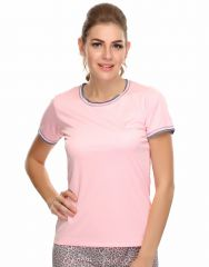 Clovia Polyester Blended Light Weight Stretchy Dri-Fit Sports T-Shirt (Product Code - At0012P22 )