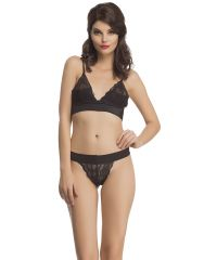 Clovia Bra And Panty Set In Black  Bp0483P13