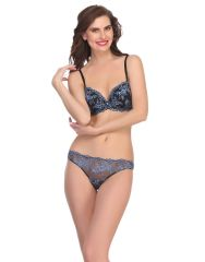 Clovia Bra And Panty Set In Black  Bp0518P13
