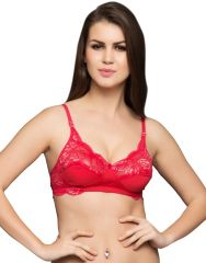 Clovia  Fashion Lace Cups Non-Padded Bra In Reddish Pink  Br0226P39