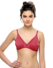 Clovia Non-padded Demi Cup T-shirt Bra With Lace In Hot Pink  BR0238P14