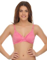 Clovia Non-Padded Demi Cup T-Shirt Bra With Lace In Pink  Br0238P62