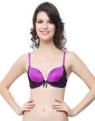 Clovia Satin, Lace Lace Embrace Sexy Push-Up Bra In Purple (Product Code - Br0338P15 )