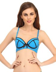 Clovia Funky Push-Up Bra In Light Blue With Contrast Designs  Br0438P03