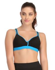 Clovia Padded Sports Bra In Black With Blue Trims & Broad Elastic  - (Product Code - BR0564P03)