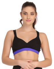 Clovia Padded Sports Bra In Black With Royal Blue Broad Elastic  - (Product Code - BR0565P08)