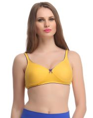Clovia Cotton Non-Wired Non-Padded Everyday Bra In Yellow With Demi Cups -(Product Code-BR0584P02)