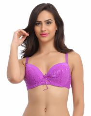 Clovia Purple Padded Lace Bra With Detachable Straps -(Product Code-BR0599P12)