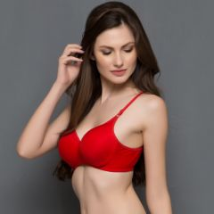 Clovia Cotton Padded Non-Wired T-Shirt Bra In Red  BR0263P04