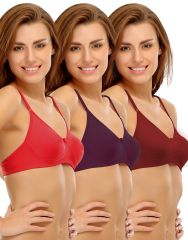 Clovia Cotton Cotton Rich Non-Padded Wirefree T-Shirt Bra In Multicolor (Product Code - Brc184P50 )