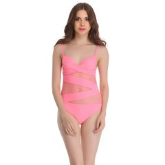 Clovia Polyamide & Powernet Monokini SwimSuit In Pink  -(Product Code- SM0018P22)