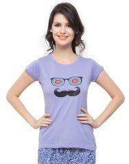 Clovia Cotton Lycra T-Shirt In Purple (Product Code - Lt0010P12 )