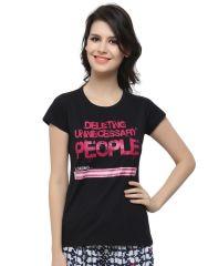 Clovia Cotton Lycra Printed Cute T-Shirt In Black (Product Code - Lt0010P13 )