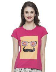 Clovia T-Shirt in Pink  LT0010P22