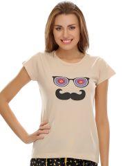 Clovia   T-Shirt In Beige  Lt0010P24