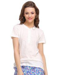 Clovia Cotton Comfy T-Shirt In White  Lt0101P18