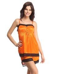 Clovia Set Of Satin Cami And Shorts In Orange  Ns0316P16