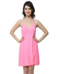 Clovia Polyamide, Spandex Sexy Drape Dress In Pink (Product Code - Ns0382P22 )