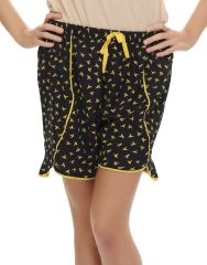 Clovia   Chic Printed Designer Shorts In Navy Blue  Ns0416P08