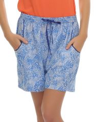 Clovia   Chic Printed Shorts With Pockets In Blue  Ns0424P03