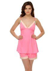 Clovia   Neon Pink Chic Cami & Shorts Set  Ns0449P22
